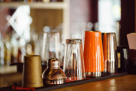 bar scene with bottles and glasses