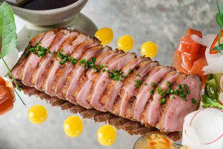 asian food - roasted beef with sauce Фото со стока - 86943236