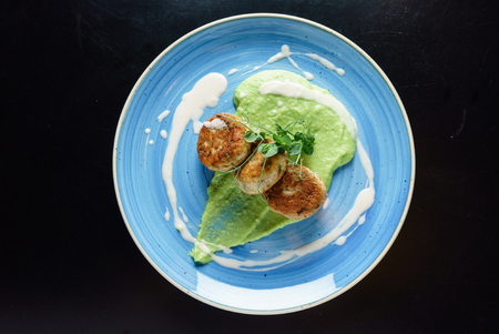 chicken cutlets with pea puree