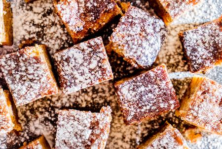 almond cake cubes Stock Photo