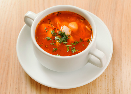 tomato soup with vegetables and meat Фото со стока - 87884995