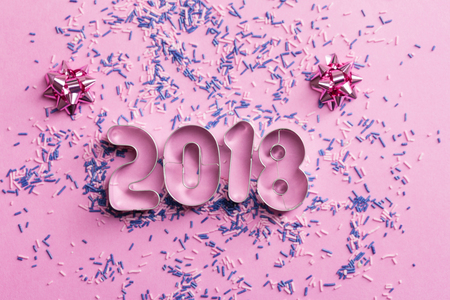 New Year 2018 numbers on the pink background Stock Photo