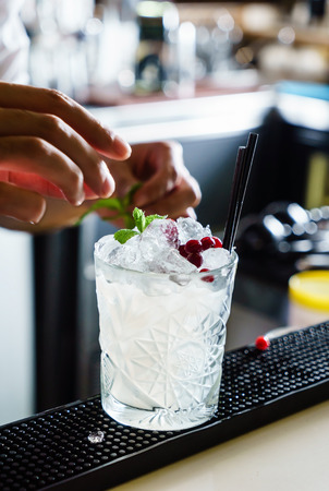 barman making cocktail in the bar Banco de Imagens
