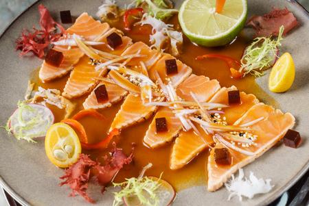 salmon slices with sauce Stock Photo