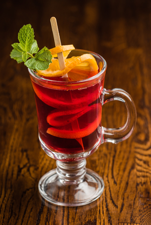 mulled wine on wooden background Stock Photo - 88703018