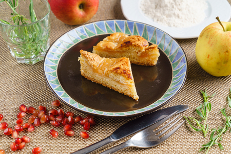 apple cake served on a plate