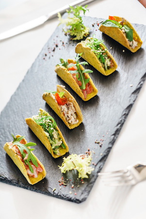 tacos on the catering table Stock Photo