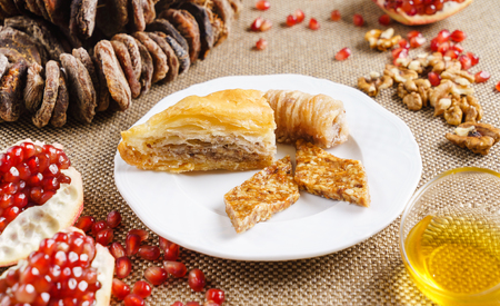 Baklava, Georgian dessert, Pakhlava. Georgian cuisine. Georgian food.