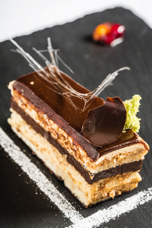opera cake slice close up view