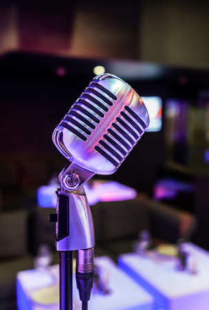 microphone on stage. restaurant Stock Photo