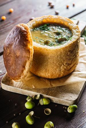 soup served in a bread bowl Reklamní fotografie