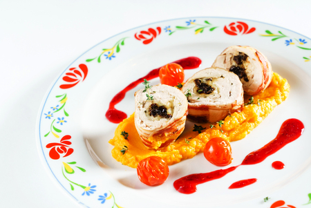 chicken rolls with carrot puree