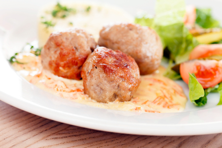 meat balls with mashed potatoes and vegetables Stock Photo