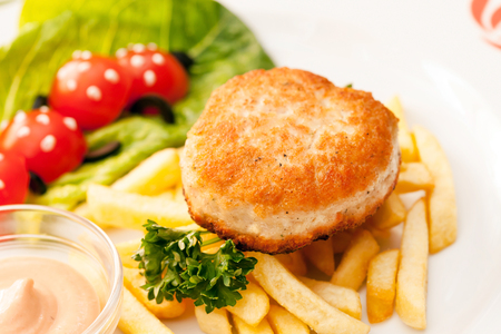 french fries with cutlet for kids menu Stok Fotoğraf