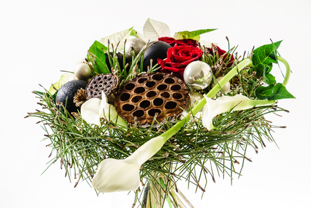 winter bouquet on the white background