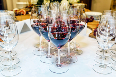 red wine on catering table