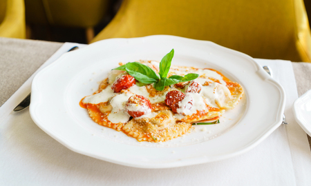 italian ravioli with mozzarella