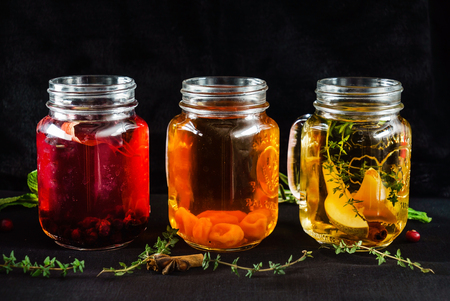 fruit alcoholic drinks in a jar