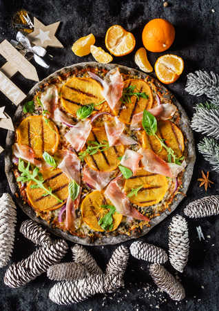 pizza with persimmon Stock Photo