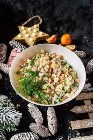 bowl of Russian salad