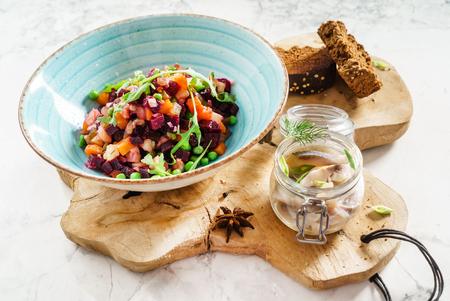 beetroot salad with herring Stockfoto