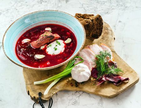 beetroot soup with meat Stock fotó