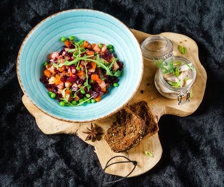 beetroot salad with herring Banco de Imagens