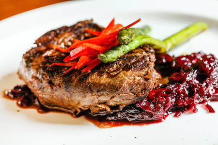 meat steak with red cabbage