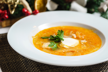 cabbage soup with sour cream Stock fotó