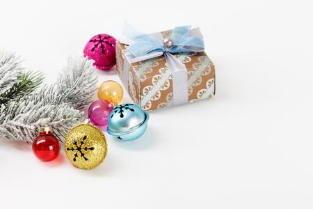 Christmas balls on the white background