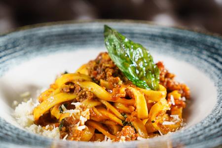 Pasta Fettuccine Bolognese with tomato sauce Фото со стока - 91682751