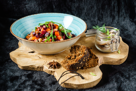 beetroot salad with herring Stock fotó