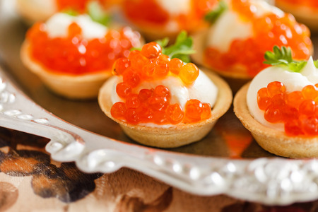 canape with caviar 스톡 콘텐츠