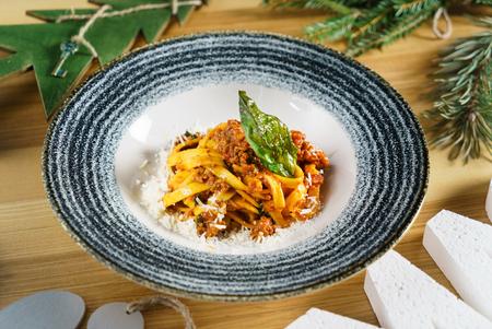 Pasta Fettuccine Bolognese with tomato sauce Фото со стока - 91682857