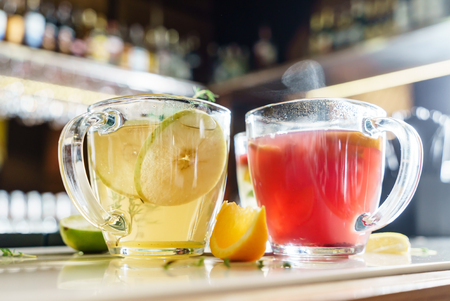 winter drinks with fruits Stock Photo