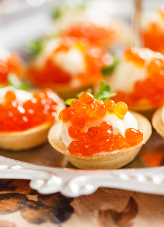 canape with caviar Stok Fotoğraf