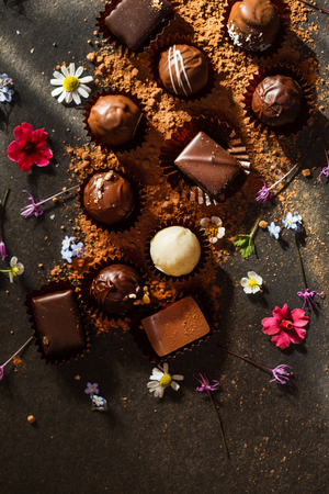 chocolate sweets with flowers