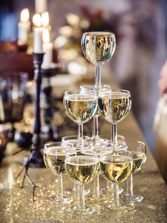 champagne glasses in the Christmas table Stock Photo