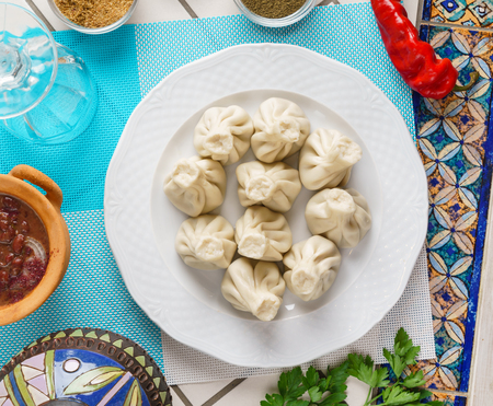 Georgian dumplings Khinkali with meat