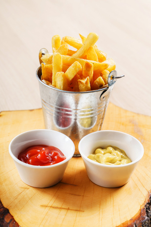 french fries with ketchup and mustard