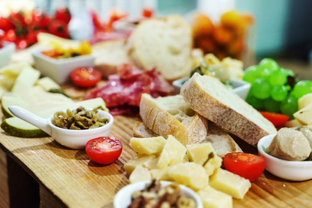 catering table with appetizers Stock Photo