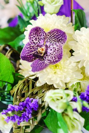 蘭と素敵な花束 写真素材