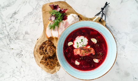 beetroot soup with meat Фото со стока