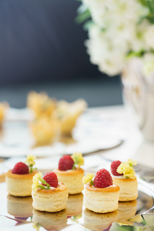canape with raspberries