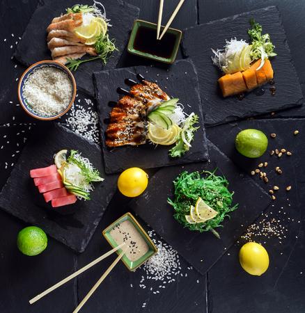 sashimi on the black background 스톡 콘텐츠