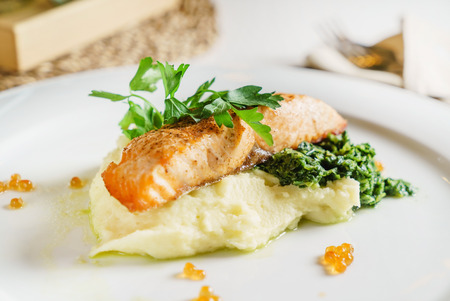 salmon steak with mashed potato