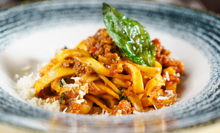 Pasta Fettuccine Bolognese with tomato sauce