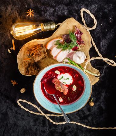 beetroot soup with meat Banco de Imagens
