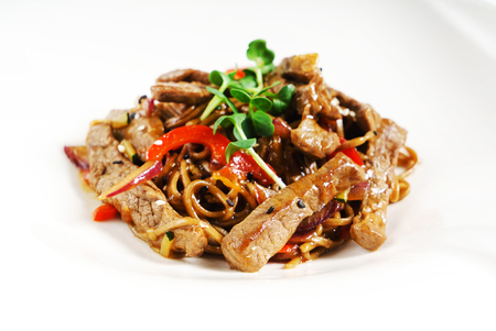 beef with noodles Stok Fotoğraf