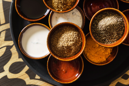 different spices and sauces